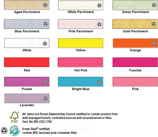 paper color options Aged Parchment, white Parchment, Blue Parchment, Pink Parchment, Green Parchment, Gold Parchment, Bright White, Yellow, Orange, Red, Hot Pink, Fuschia, Purple, Bright Blue, Light Pink, Lavender